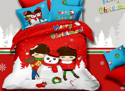 Cartoon Christmas Couples Cotton 4Pcs Bedding Sets Bed Linens Home
