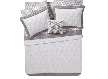 Mainstays Frames 8 Piece Embossed 3D Quilt in a Bag Bedding Set