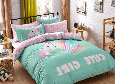 cartoon bedding sets color horse duvet cover twin/queen size kids